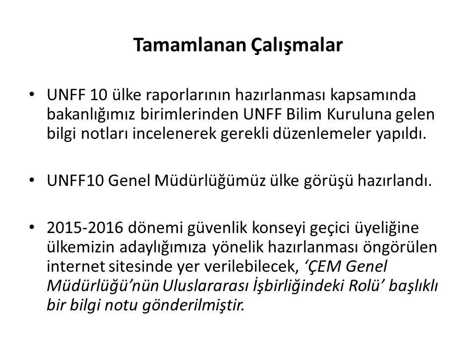 Tamamlanan Çalışmalar UNFF 10 ülke raporlarının hazırlanması kapsamında bakanlığımız birimlerinden UNFF Bilim Kuruluna gelen bilgi notları incelenerek gerekli düzenlemeler yapıldı.
