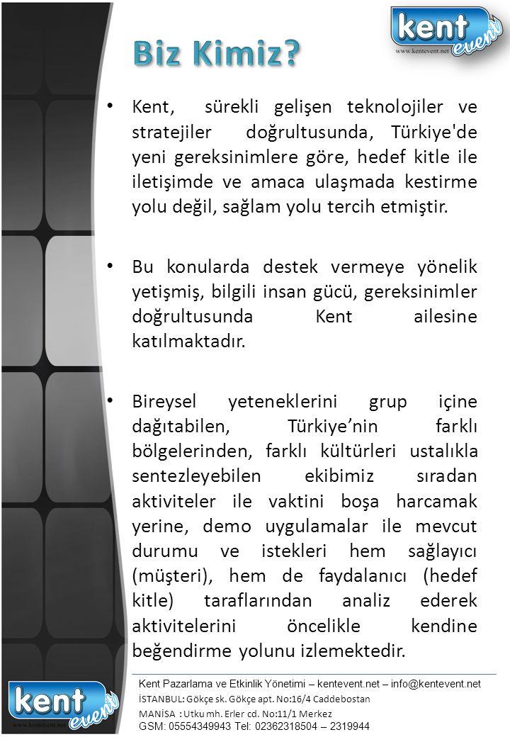 Kent, sürekli gelişen teknolojiler ve stratejiler doğrultusunda, Türkiye'de yeni gereksinimlere göre, hedef kitle ile iletişimde ve amaca ulaşmada kes