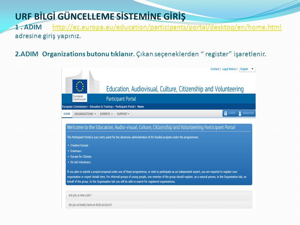 URF BİLGİ GÜNCELLEME SİSTEMİNE GİRİŞ 1. ADIM http://ec.europa.eu/education/participants/portal/desktop/en/home.html adresine giriş yapınız. 2.ADIM Org
