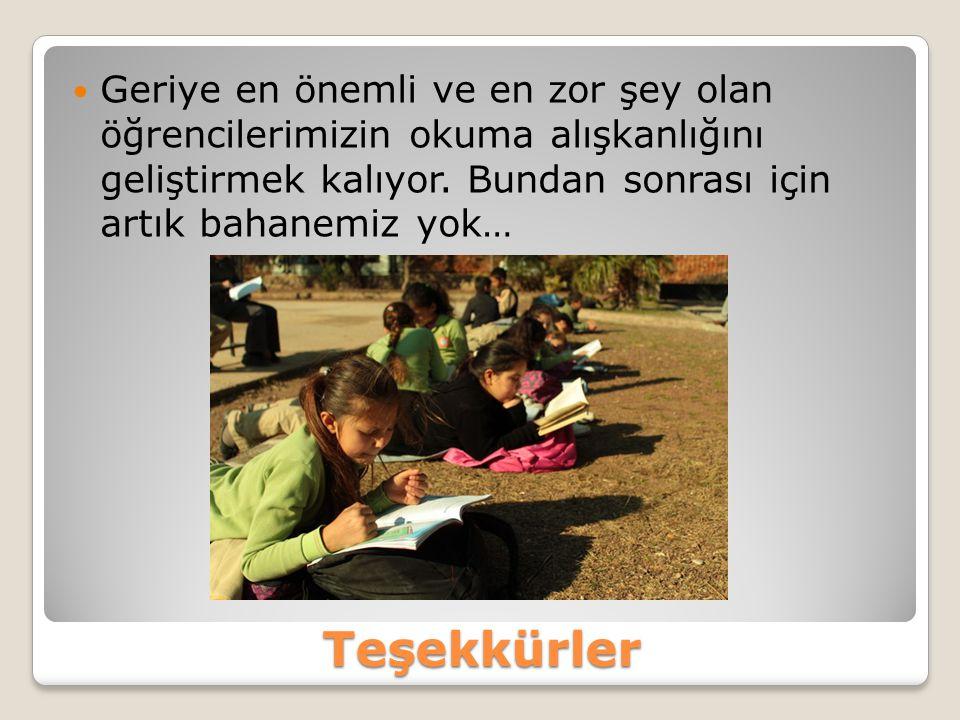 Teşekkürler Geriye en önemli ve en zor şey olan öğrencilerimizin okuma alışkanlığını geliştirmek kalıyor. Bundan sonrası için artık bahanemiz yok…