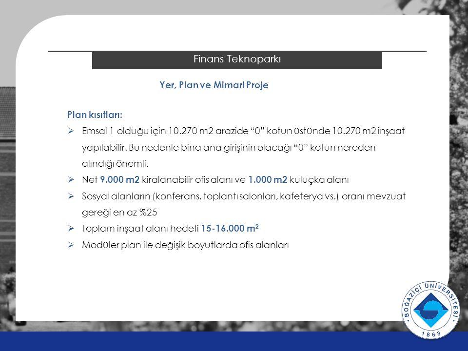 """2014 ÖSYS Sonuçları Finans Teknoparkı Yer, Plan ve Mimari Proje Plan kısıtları:  Emsal 1 olduğu için 10.270 m2 arazide """"0"""" kotun üstünde 10.270 m2 in"""
