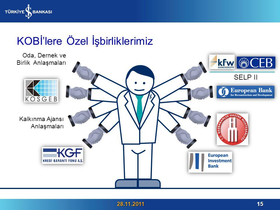 KOBİ'lere Özel İşbirliklerimiz 28.11.201115 Oda, Dernek ve Birlik Anlaşmaları SELP II Kalkınma Ajansı Anlaşmaları