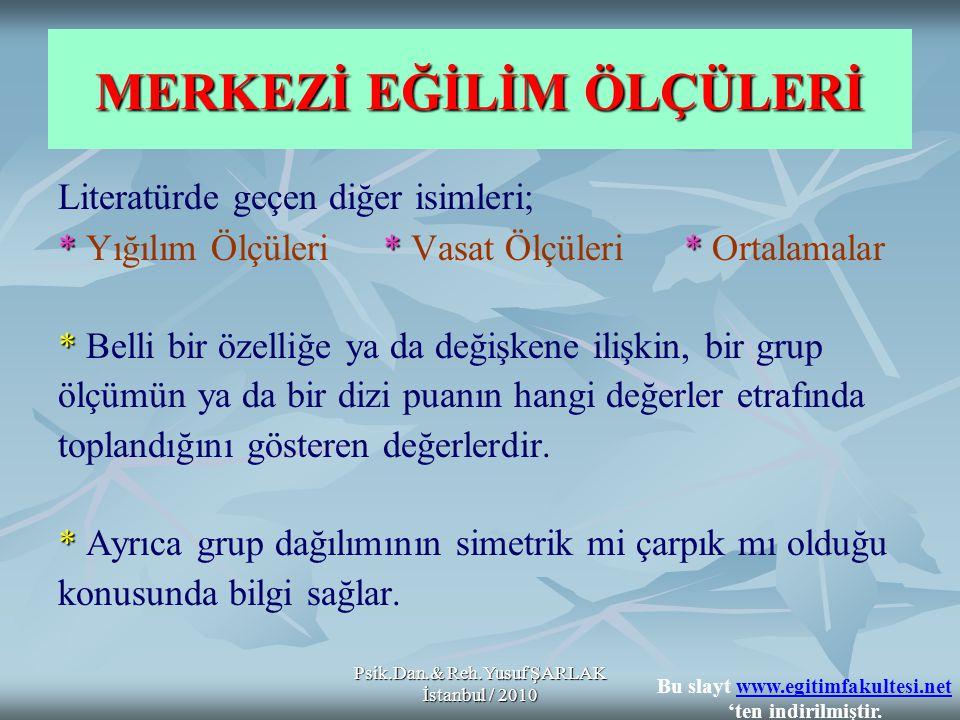 Psik.Dan.& Reh.Yusuf ŞARLAK İstanbul / 2010 MERKEZİ EĞİLİM ÖLÇÜLERİ Literatürde geçen diğer isimleri; ** * * Yığılım Ölçüleri * Vasat Ölçüleri * Ortalamalar * * Belli bir özelliğe ya da değişkene ilişkin, bir grup ölçümün ya da bir dizi puanın hangi değerler etrafında toplandığını gösteren değerlerdir.