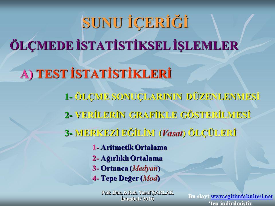 Psik.Dan.& Reh.Yusuf ŞARLAK İstanbul / 2010 SUNU İÇERİĞİ ÖLÇMEDE İSTATİSTİKSEL İŞLEMLER A) TEST İSTATİSTİKLERİ 1- ÖLÇME SONUÇLARININ DÜZENLENMESİ 2- VERİLERİN GRAFİKLE GÖSTERİLMESİ 3- MERKEZİ EĞİLİM (Vasat) ÖLÇÜLERİ 3- MERKEZİ EĞİLİM (Vasat) ÖLÇÜLERİ 1- Aritmetik Ortalama 2- Ağırlıklı Ortalama 3- Ortanca (Medyan) 4- Tepe Değer (Mod) Psik.Dan.& Reh.Yusuf ŞARLAK İstanbul / 2010 Bu slayt www.egitimfakultesi.net 'ten indirilmiştir.www.egitimfakultesi.net