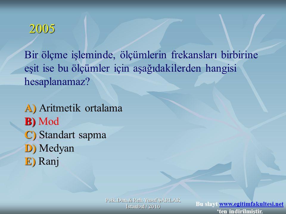 Psik.Dan.& Reh.Yusuf ŞARLAK İstanbul / 2010 A) B) C) D) E) Bir ölçme işleminde, ölçümlerin frekansları birbirine eşit ise bu ölçümler için aşağıdakilerden hangisi hesaplanamaz.