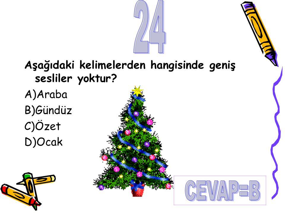 Aşağıdaki kelimelerden hangisinde geniş sesliler yoktur? A)Araba B)Gündüz C)Özet D)Ocak