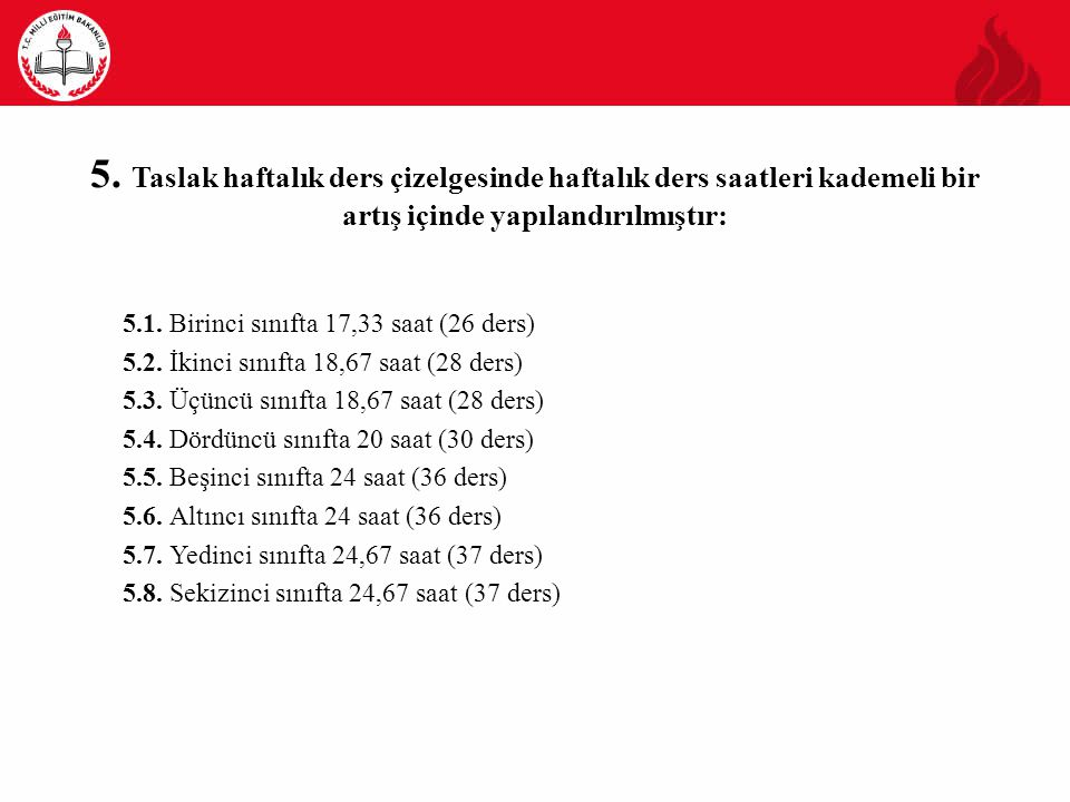 5. Taslak haftalık ders çizelgesinde haftalık ders saatleri kademeli bir artış içinde yapılandırılmıştır: 5.1. Birinci sınıfta 17,33 saat (26 ders) 5.