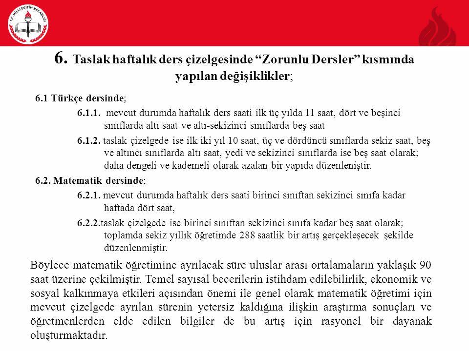 """6. Taslak haftalık ders çizelgesinde """"Zorunlu Dersler"""" kısmında yapılan değişiklikler; 6.1 Türkçe dersinde; 6.1.1. mevcut durumda haftalık ders saati"""