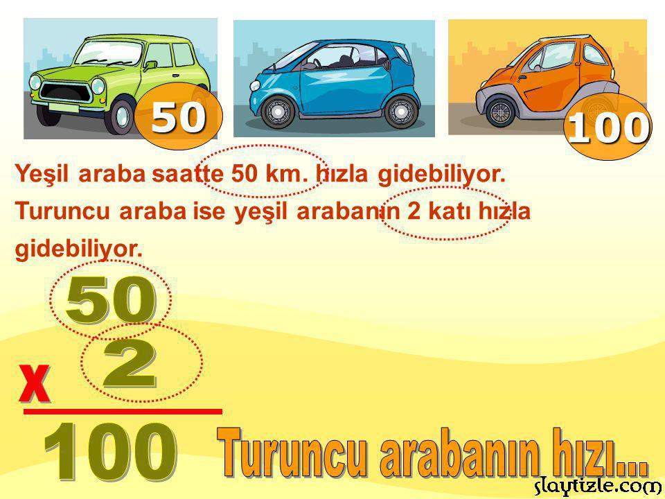 Yeşil araba saatte 50 km. hızla gidebiliyor. Turuncu araba ise yeşil arabanın 2 katı hızla gidebiliyor. 50 100