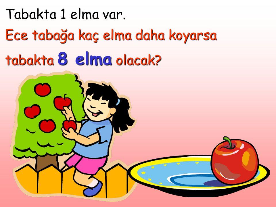 Tabakta 1 elma var. Ece tabağa kaç elma daha koyarsa tabakta 8 elma olacak?