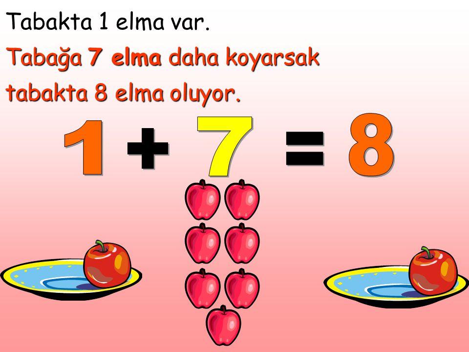 Tabakta 1 elma var. Tabağa 7 elma daha koyarsak tabakta 8 elma oluyor.