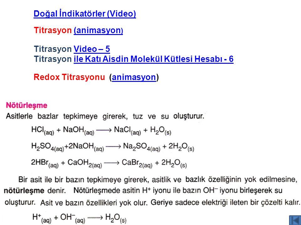 Titrasyon (animasyon )(animasyon ) Titrasyon Video – 5Video – 5 Titrasyon ile Katı Aisdin Molekül Kütlesi Hesabı - 6ile Katı Aisdin Molekül Kütlesi He