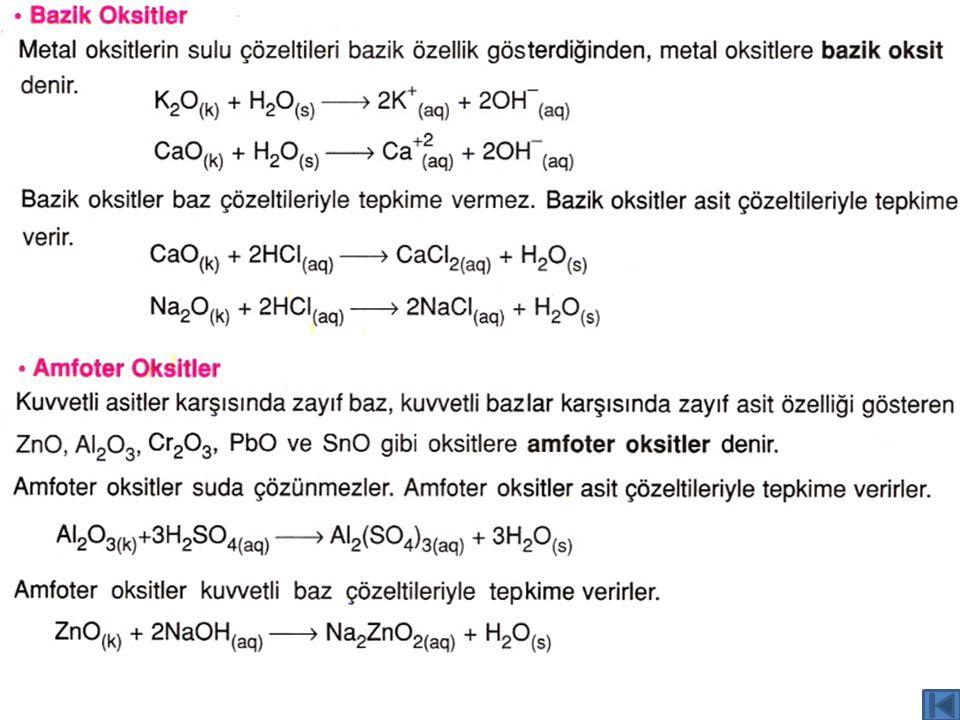 Metal ve Ametal Oksitlerinin Asit ve Baz Karekteri Video - 3