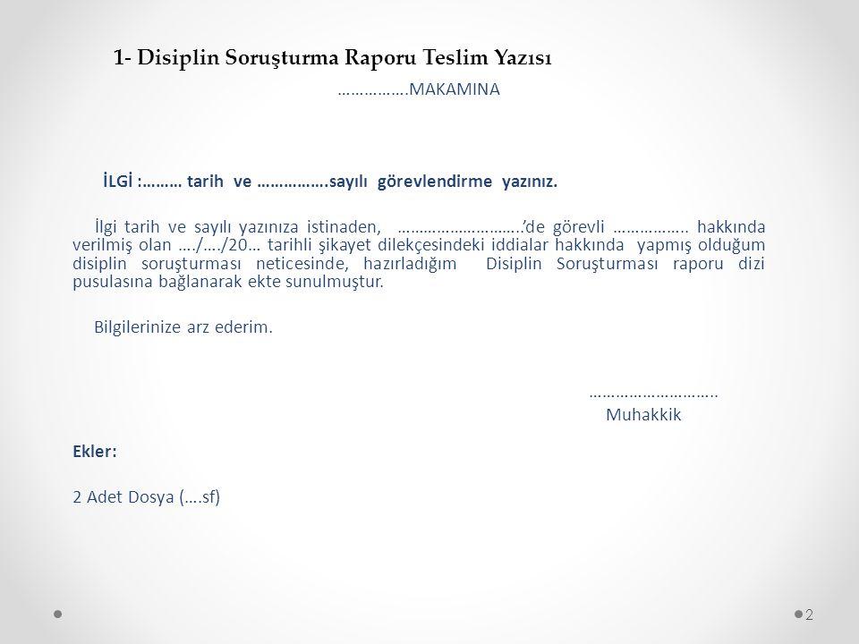 T.C. AMASYA VALİLİĞİ ………………… Müdürlüğü 3 2- Disiplin Soruşturma Rapor Kapağı