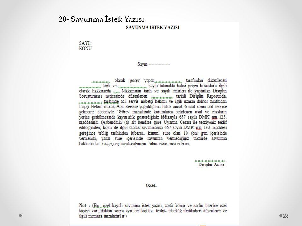 26 20- Savunma İstek Yazısı