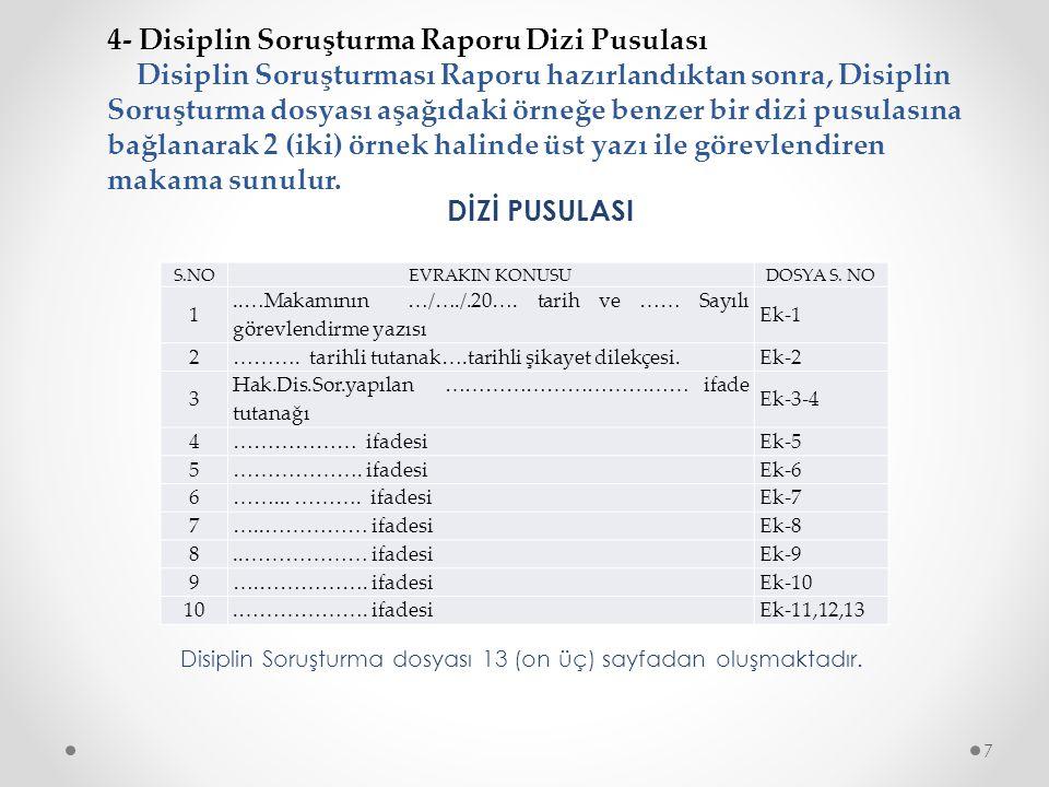 4- Disiplin Soruşturma Raporu Dizi Pusulası Disiplin Soruşturması Raporu hazırlandıktan sonra, Disiplin Soruşturma dosyası aşağıdaki örneğe benzer bir dizi pusulasına bağlanarak 2 (iki) örnek halinde üst yazı ile görevlendiren makama sunulur.