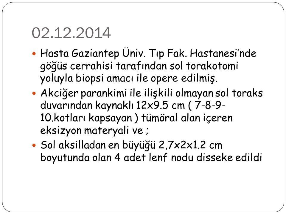 02.12.2014 Hasta Gaziantep Üniv. Tıp Fak. Hastanesi'nde göğüs cerrahisi tarafından sol torakotomi yoluyla biopsi amacı ile opere edilmiş. Akciğer para