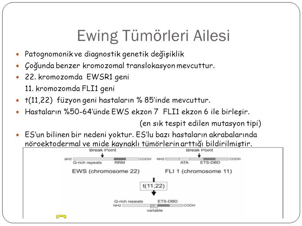 Ewing Tümörleri Ailesi Patognomonik ve diagnostik genetik değişiklik Çoğunda benzer kromozomal translokasyon mevcuttur. 22. kromozomda EWSR1 geni 11.