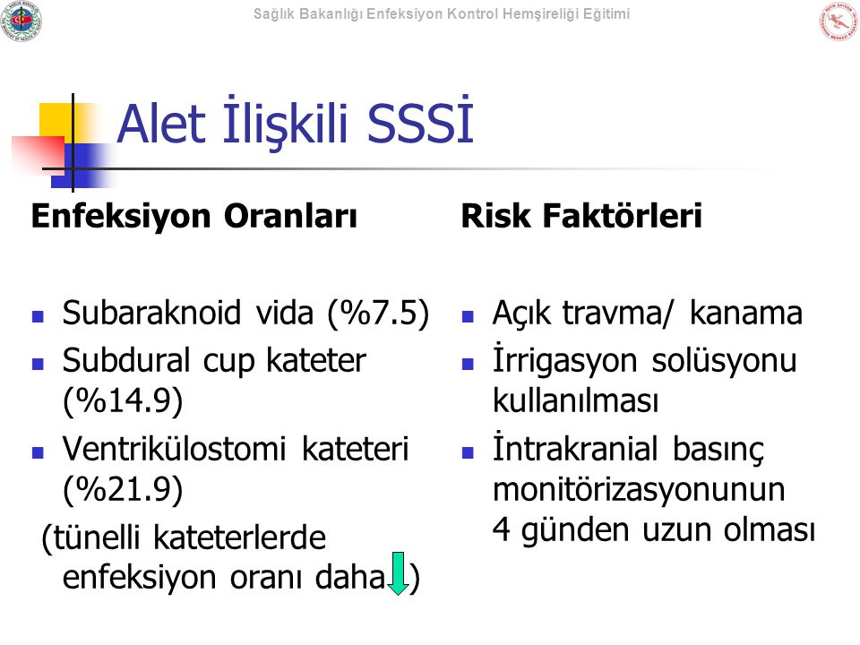 Sağlık Bakanlığı Enfeksiyon Kontrol Hemşireliği Eğitimi Alet İlişkili SSSİ Enfeksiyon Oranları Subaraknoid vida (%7.5) Subdural cup kateter (%14.9) Ve