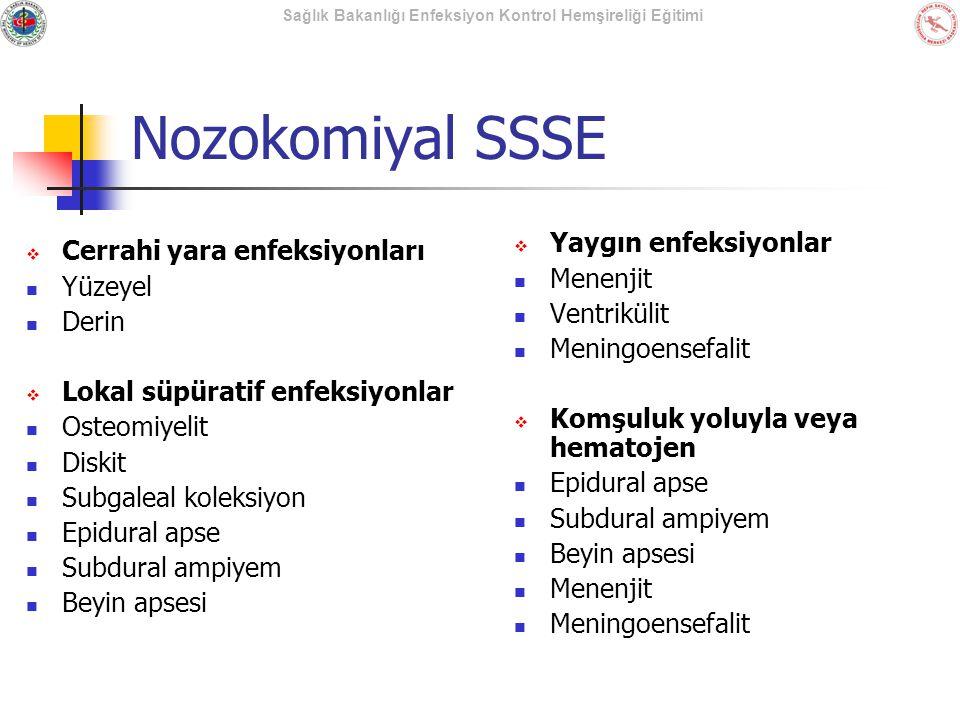 Sağlık Bakanlığı Enfeksiyon Kontrol Hemşireliği Eğitimi Nozokomiyal SSSE  Cerrahi yara enfeksiyonları Yüzeyel Derin  Lokal süpüratif enfeksiyonlar O