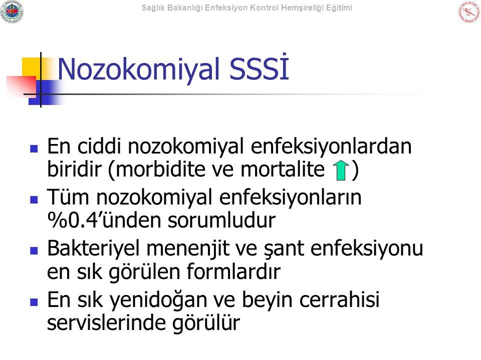 Sağlık Bakanlığı Enfeksiyon Kontrol Hemşireliği Eğitimi Nozokomiyal SSSİ En ciddi nozokomiyal enfeksiyonlardan biridir (morbidite ve mortalite ) Tüm n