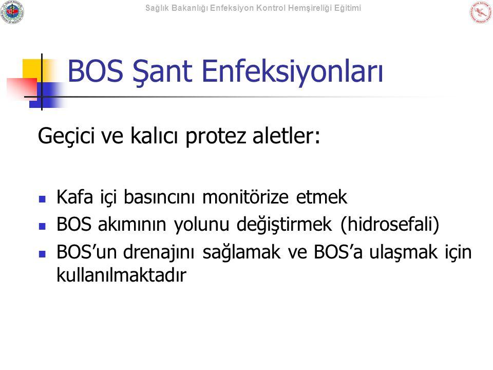 Sağlık Bakanlığı Enfeksiyon Kontrol Hemşireliği Eğitimi BOS Şant Enfeksiyonları Geçici ve kalıcı protez aletler: Kafa içi basıncını monitörize etmek B