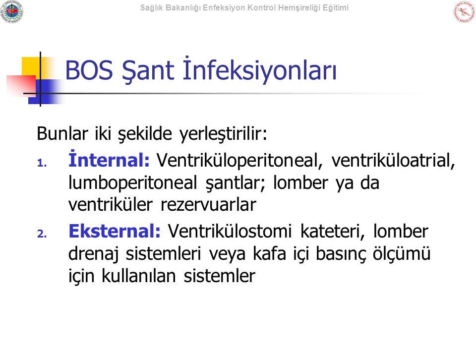 Sağlık Bakanlığı Enfeksiyon Kontrol Hemşireliği Eğitimi BOS Şant İnfeksiyonları Bunlar iki şekilde yerleştirilir: 1. İnternal: Ventriküloperitoneal, v