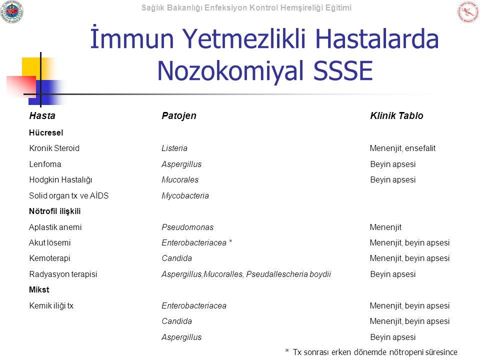 Sağlık Bakanlığı Enfeksiyon Kontrol Hemşireliği Eğitimi İmmun Yetmezlikli Hastalarda Nozokomiyal SSSE HastaPatojenKlinik Tablo Hücresel Kronik Steroid
