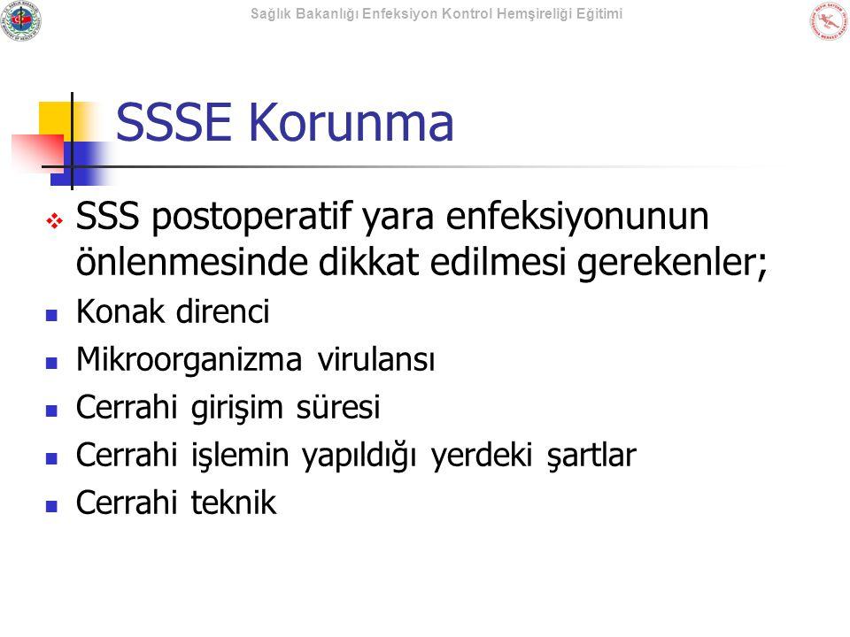 Sağlık Bakanlığı Enfeksiyon Kontrol Hemşireliği Eğitimi SSSE Korunma  SSS postoperatif yara enfeksiyonunun önlenmesinde dikkat edilmesi gerekenler; K