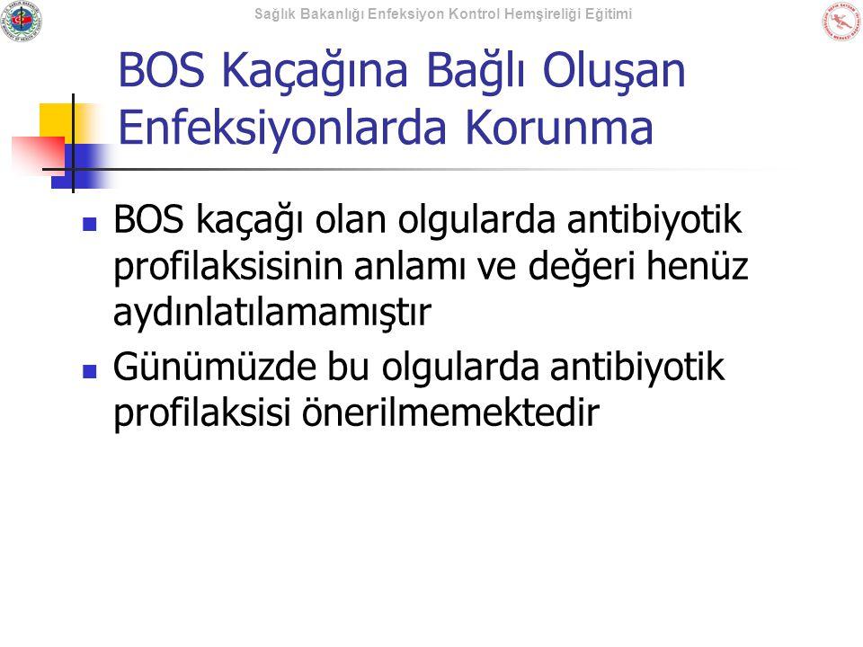 Sağlık Bakanlığı Enfeksiyon Kontrol Hemşireliği Eğitimi BOS Kaçağına Bağlı Oluşan Enfeksiyonlarda Korunma BOS kaçağı olan olgularda antibiyotik profil