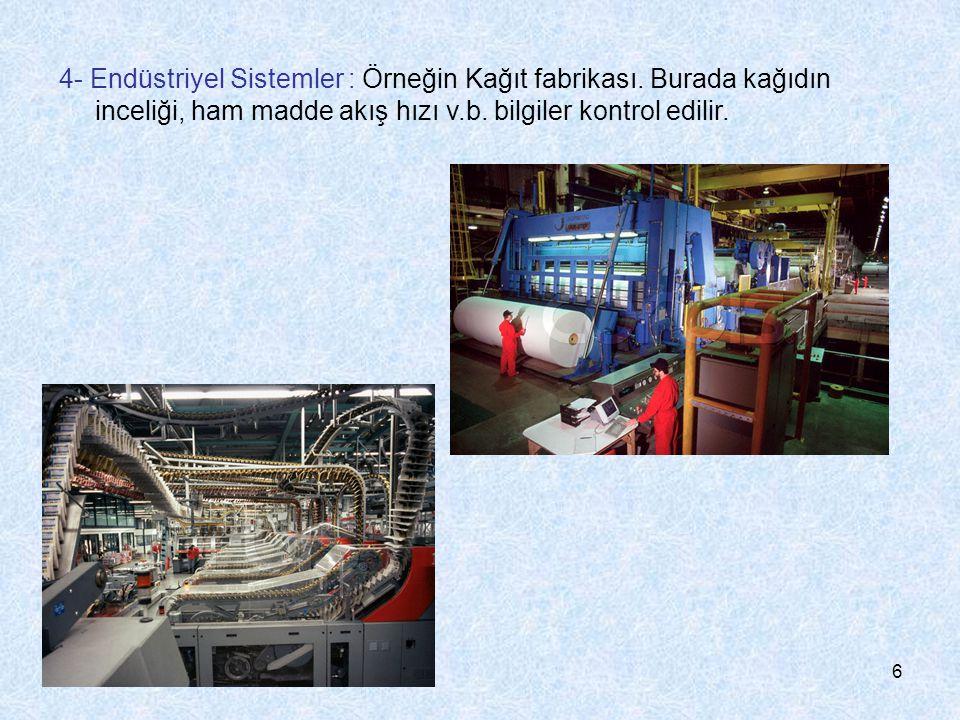 6 4- Endüstriyel Sistemler : Örneğin Kağıt fabrikası. Burada kağıdın inceliği, ham madde akış hızı v.b. bilgiler kontrol edilir.