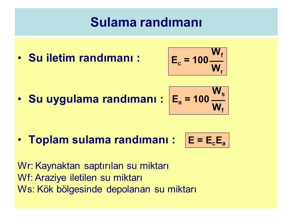 Sulama randımanı Su iletim randımanı : Su uygulama randımanı : Toplam sulama randımanı : Wr: Kaynaktan saptırılan su miktarı Wf: Araziye iletilen su m