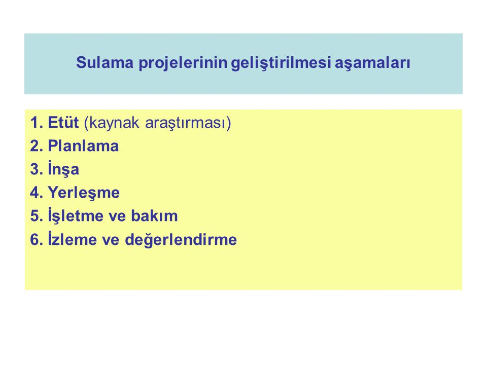 Sulama projelerinin geliştirilmesi aşamaları 1. Etüt (kaynak araştırması) 2. Planlama 3. İnşa 4. Yerleşme 5. İşletme ve bakım 6. İzleme ve değerlendir