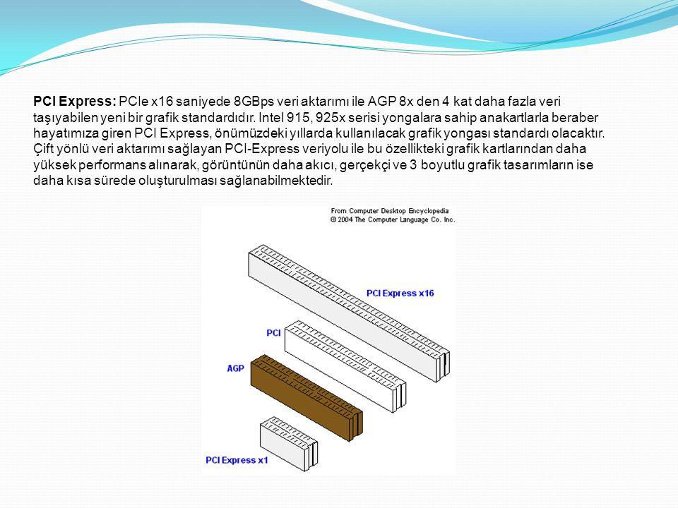 PCI Express: PCIe x16 saniyede 8GBps veri aktarımı ile AGP 8x den 4 kat daha fazla veri taşıyabilen yeni bir grafik standardıdır. Intel 915, 925x seri