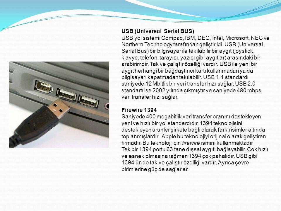USB (Universal Serial BUS) USB yol sistemi Compaq, IBM, DEC, Intel, Microsoft, NEC ve Northern Technology tarafından geliştirildi. USB (Universal Seri