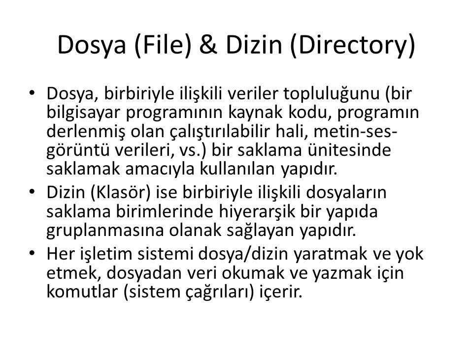 Dosya (File) & Dizin (Directory) Dosya, birbiriyle ilişkili veriler topluluğunu (bir bilgisayar programının kaynak kodu, programın derlenmiş olan çalı