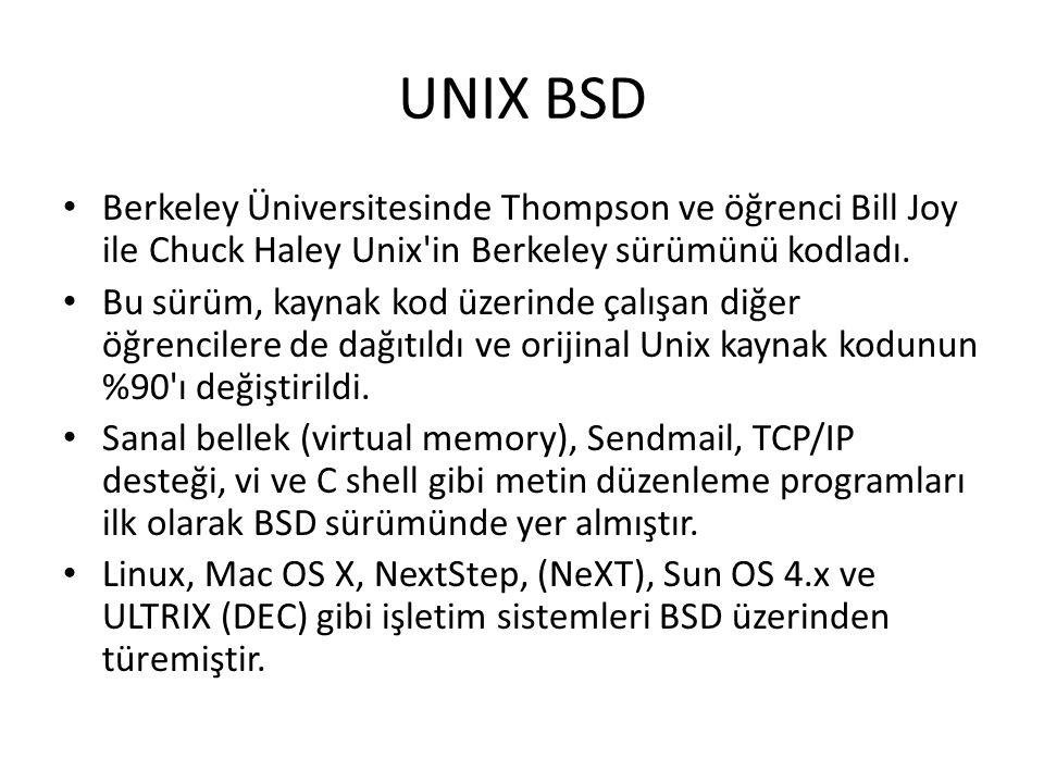 UNIX BSD Berkeley Üniversitesinde Thompson ve öğrenci Bill Joy ile Chuck Haley Unix'in Berkeley sürümünü kodladı. Bu sürüm, kaynak kod üzerinde çalışa