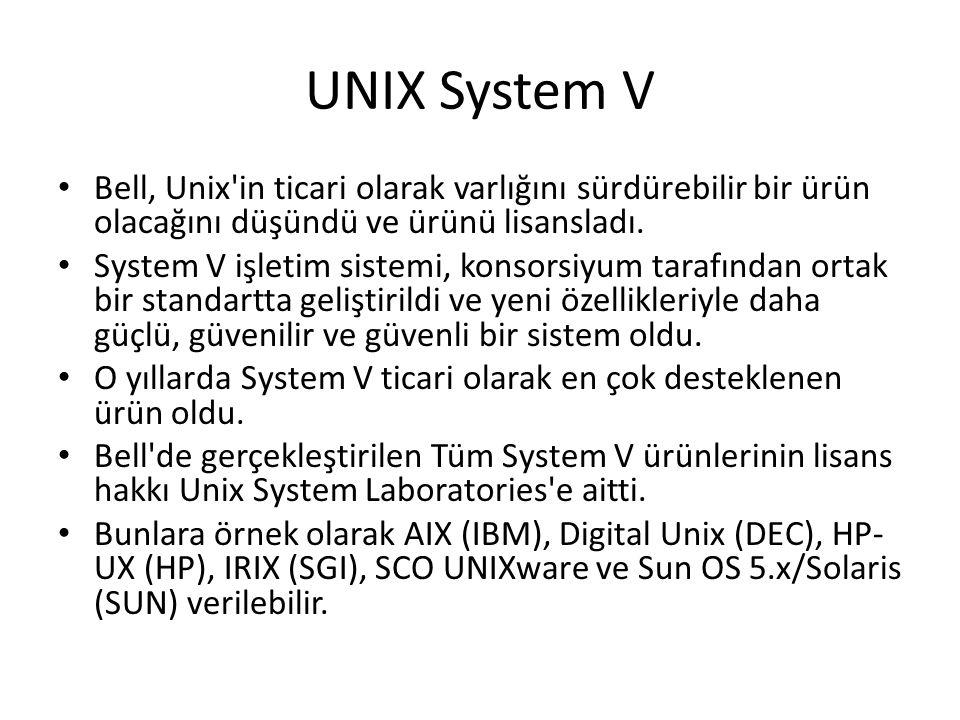 UNIX System V Bell, Unix'in ticari olarak varlığını sürdürebilir bir ürün olacağını düşündü ve ürünü lisansladı. System V işletim sistemi, konsorsiyum
