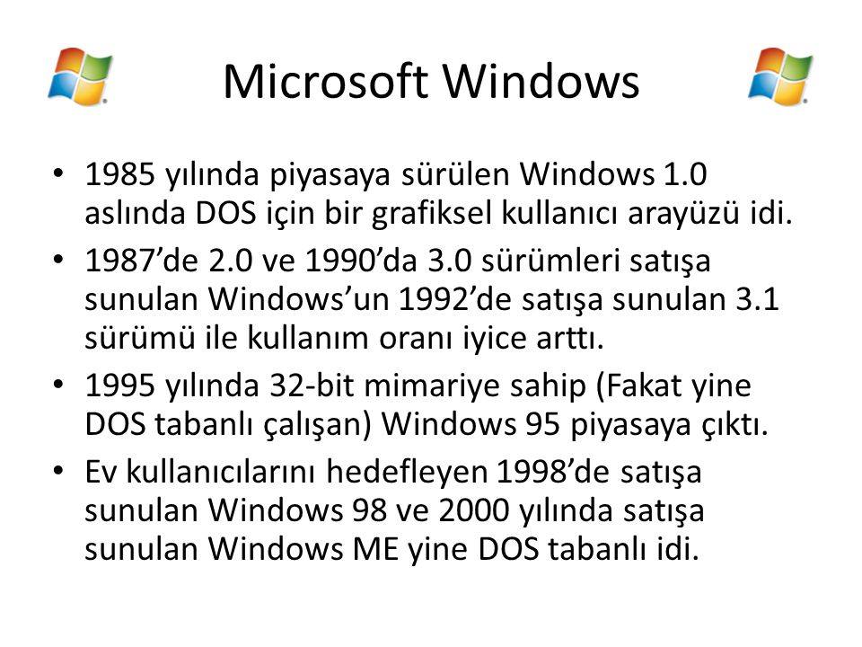 Microsoft Windows 1985 yılında piyasaya sürülen Windows 1.0 aslında DOS için bir grafiksel kullanıcı arayüzü idi. 1987'de 2.0 ve 1990'da 3.0 sürümleri