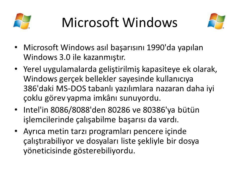 Microsoft Windows Microsoft Windows asıl başarısını 1990'da yapılan Windows 3.0 ile kazanmıştır. Yerel uygulamalarda geliştirilmiş kapasiteye ek olara