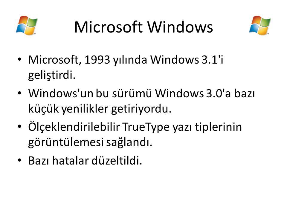 Microsoft Windows Microsoft, 1993 yılında Windows 3.1'i geliştirdi. Windows'un bu sürümü Windows 3.0'a bazı küçük yenilikler getiriyordu. Ölçeklendiri