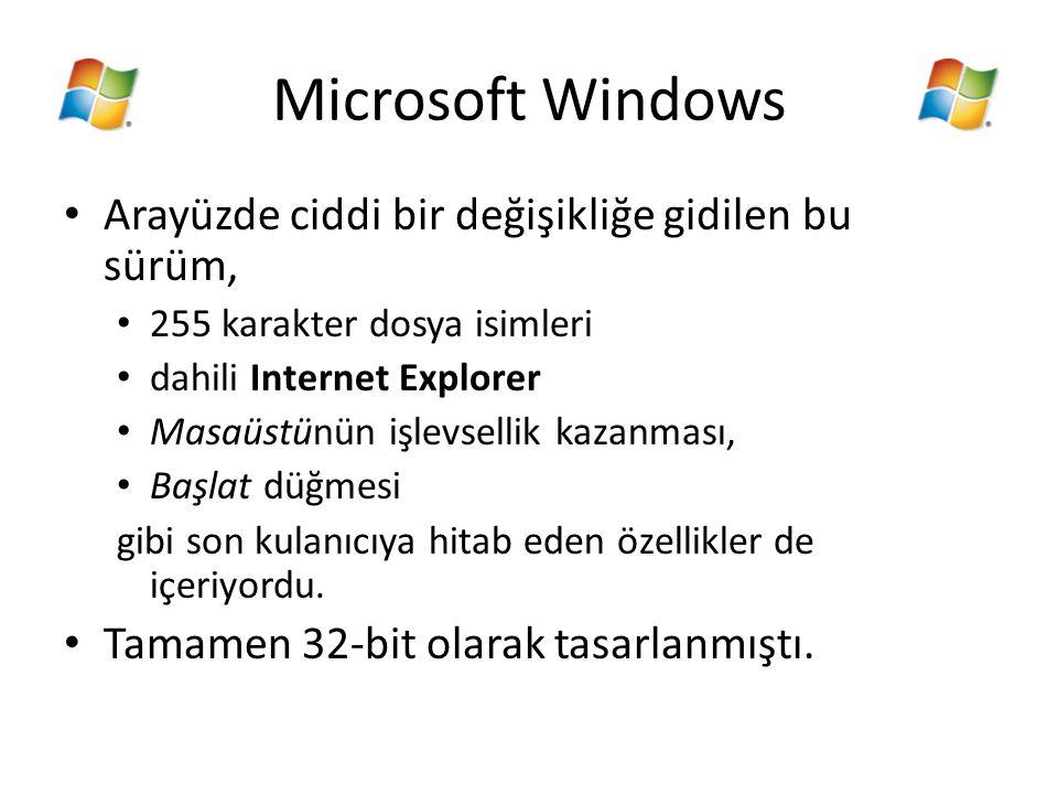 Microsoft Windows Arayüzde ciddi bir değişikliğe gidilen bu sürüm, 255 karakter dosya isimleri dahili Internet Explorer Masaüstünün işlevsellik kazanm
