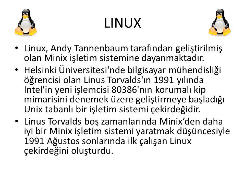 LINUX Linux, Andy Tannenbaum tarafından geliştirilmiş olan Minix işletim sistemine dayanmaktadır. Helsinki Üniversitesi'nde bilgisayar mühendisliği öğ