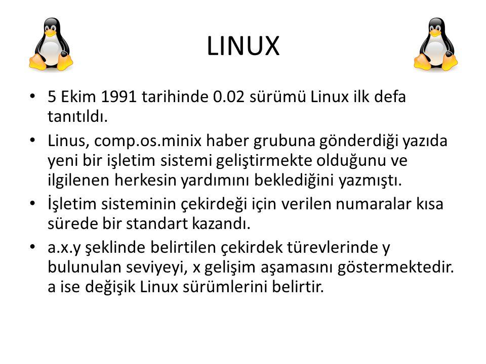LINUX 5 Ekim 1991 tarihinde 0.02 sürümü Linux ilk defa tanıtıldı. Linus, comp.os.minix haber grubuna gönderdiği yazıda yeni bir işletim sistemi gelişt