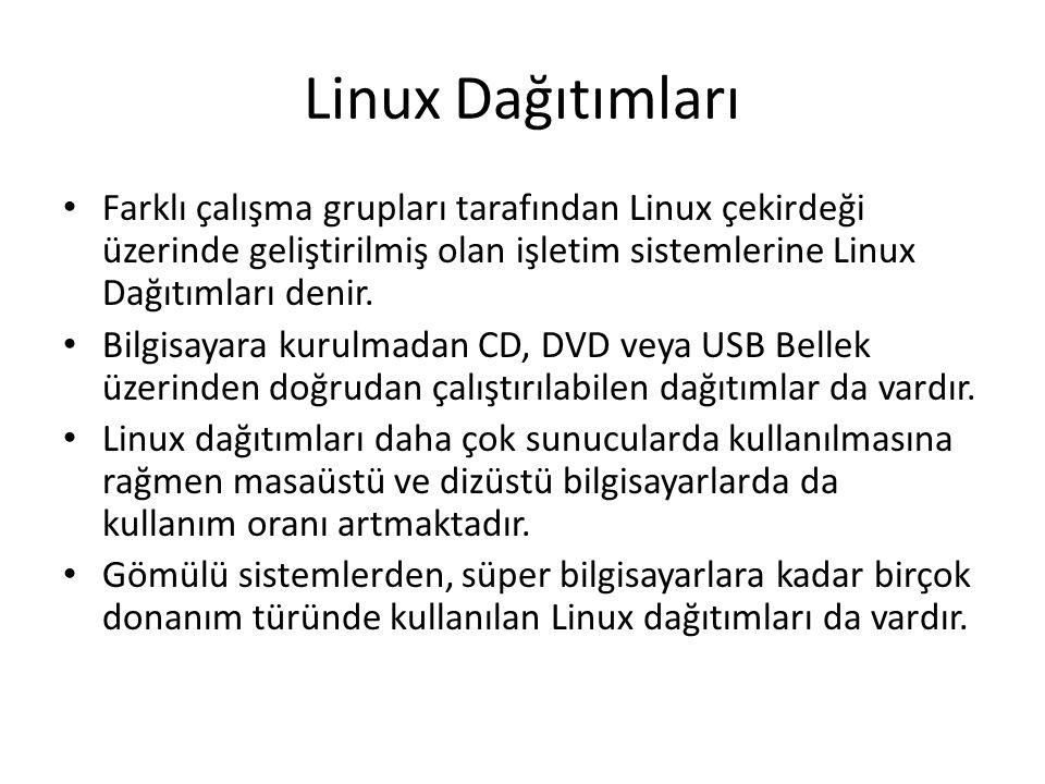 Linux Dağıtımları Farklı çalışma grupları tarafından Linux çekirdeği üzerinde geliştirilmiş olan işletim sistemlerine Linux Dağıtımları denir. Bilgisa
