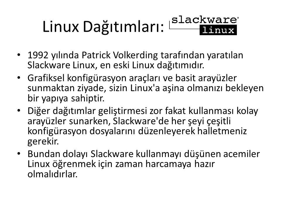 Linux Dağıtımları: 1992 yılında Patrick Volkerding tarafından yaratılan Slackware Linux, en eski Linux dağıtımıdır. Grafiksel konfigürasyon araçları v