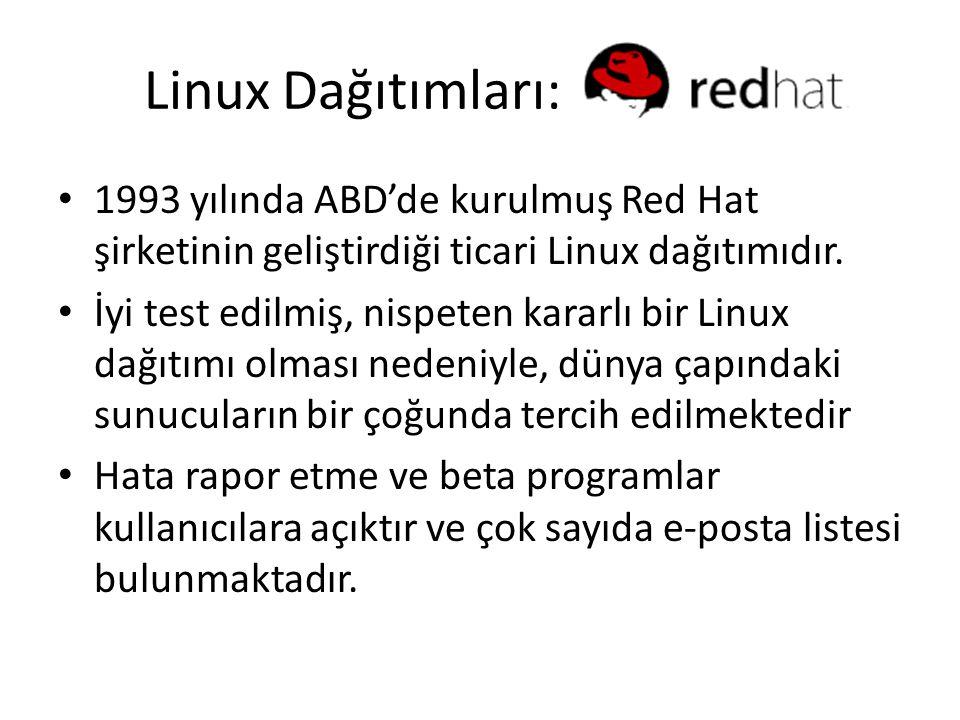 Linux Dağıtımları: 1993 yılında ABD'de kurulmuş Red Hat şirketinin geliştirdiği ticari Linux dağıtımıdır. İyi test edilmiş, nispeten kararlı bir Linux