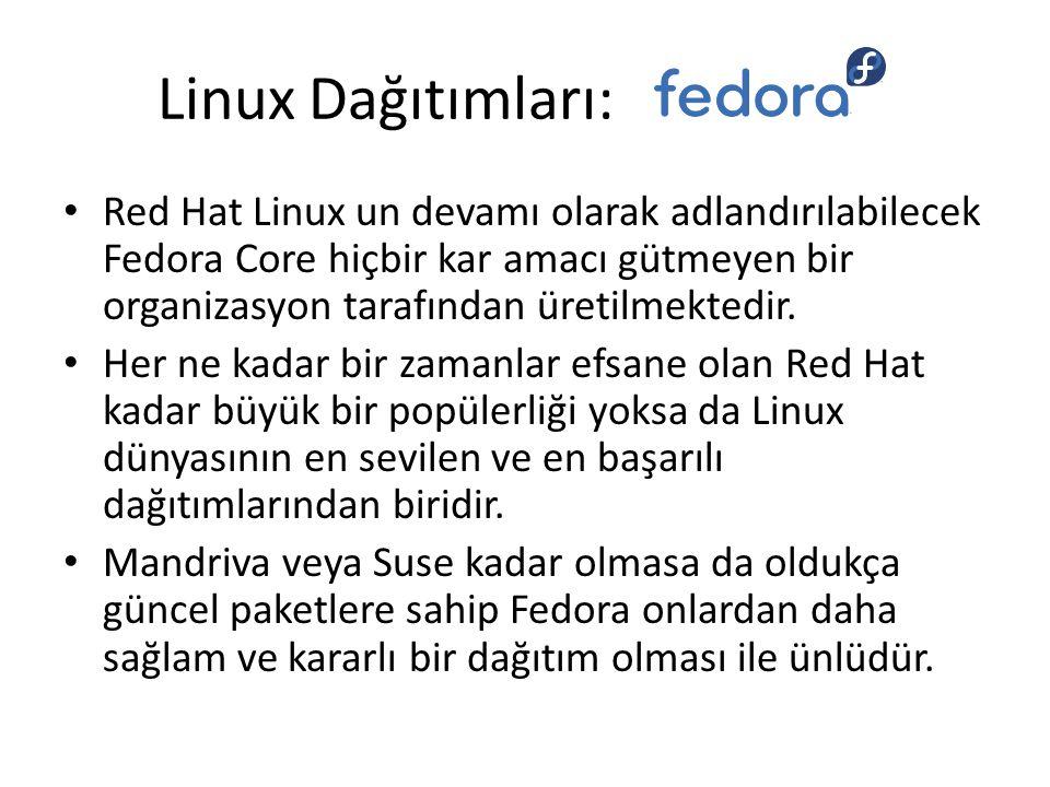 Linux Dağıtımları: Red Hat Linux un devamı olarak adlandırılabilecek Fedora Core hiçbir kar amacı gütmeyen bir organizasyon tarafından üretilmektedir.
