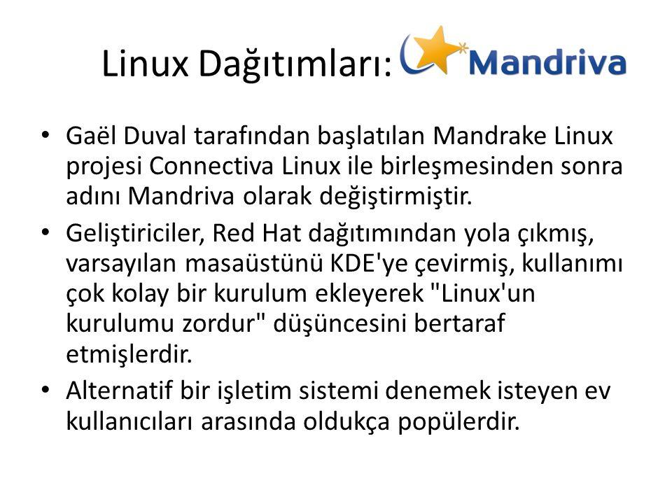 Linux Dağıtımları: Gaël Duval tarafından başlatılan Mandrake Linux projesi Connectiva Linux ile birleşmesinden sonra adını Mandriva olarak değiştirmiş