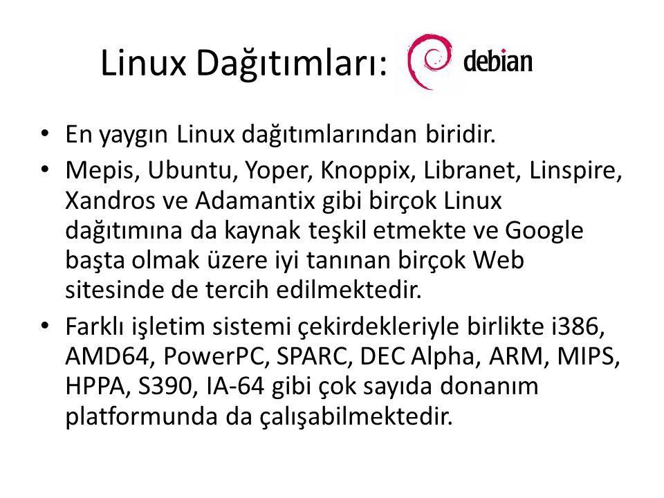 Linux Dağıtımları: En yaygın Linux dağıtımlarından biridir. Mepis, Ubuntu, Yoper, Knoppix, Libranet, Linspire, Xandros ve Adamantix gibi birçok Linux